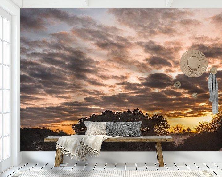 Sfeerimpressie behang: Zonsopkomst over de duinen van Jan Willem De Vos