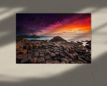 Giants Causeway Sonnenuntergang in Nordirland UK von Dieter Meyrl