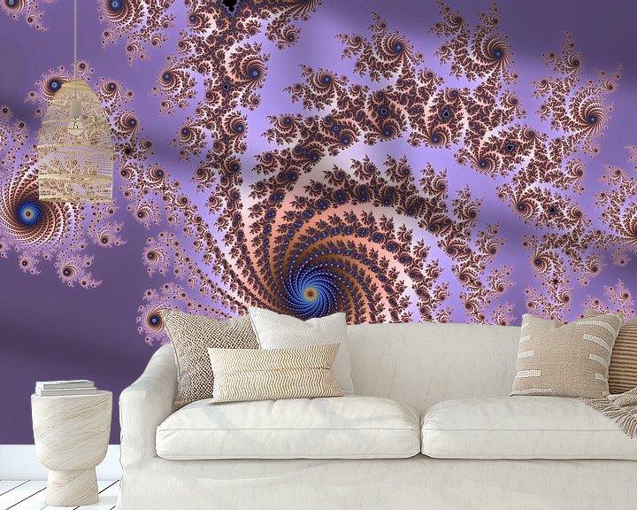 Sfeerimpressie behang: Kleurrijke fractal - Wiskunde - Mandelbrot van MPfoto71