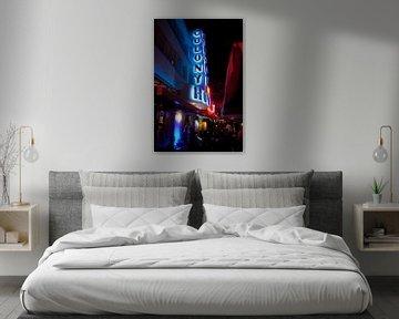 Miami Beach, Ocean Drive - Colony Hotel bij nacht van t.ART