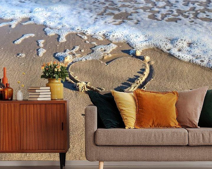 Beispiel fototapete: Herz gemalt in den Strandsand an der Ostsee von MPfoto71