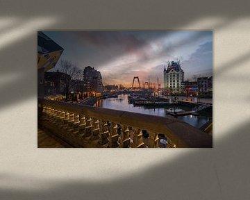 Willemsbrug avec le coucher du soleil sur Prachtig Rotterdam