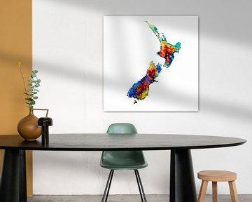 Nieuw Zeeland | Kleurrijke landkaart in aquarel | Blauw Paars Oranje Azuurblauw