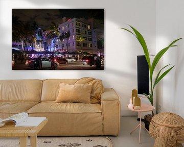 Miami Beach, Ocean Drive - Clevelander South Beach Hotel and Bar bij nacht van t.ART