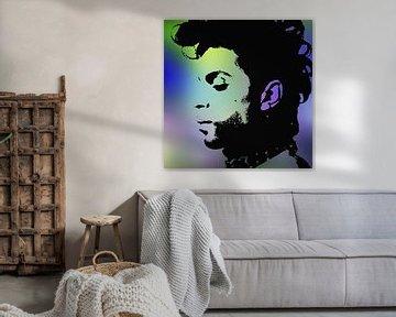 Prinz Abstraktes Porträt in Lila Grün Blau von Art By Dominic