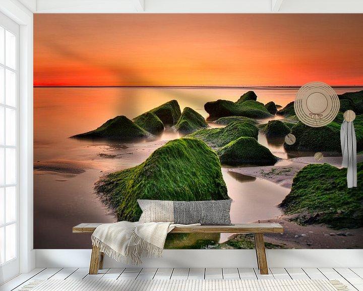 Beispiel fototapete: Sonnenuntergang Sonnenuntergang Katwijk aan Zee Niederlande von Wim van Beelen