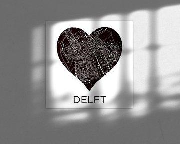 Liefde voor Delft  |  Stadskaart in een zwarte hart van Wereldkaarten.Shop