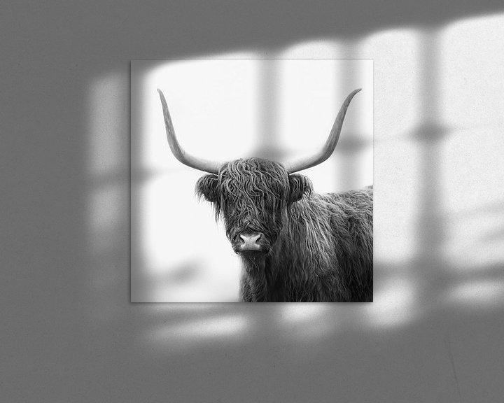 Sfeerimpressie: Schotse hooglander in de mist in Nederland van Joyce van Galen
