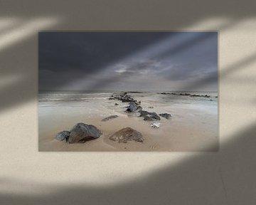 ´Schildpadden´. Strekdam in zee. van Jacqueline de Groot