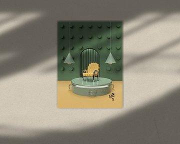 3D Abstrakt Grün Gelb Cookie Stuhl von shoott photography