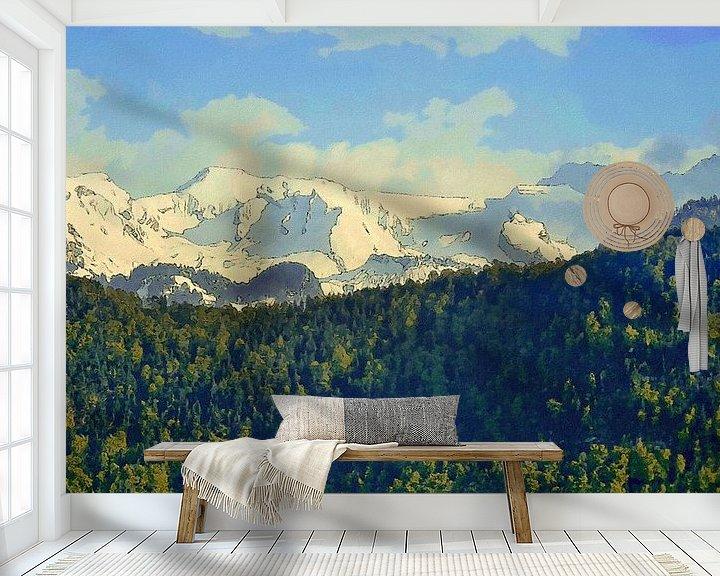 Sfeerimpressie behang: Bos Bergen Sneeuw van Schildersatelier van der Ven