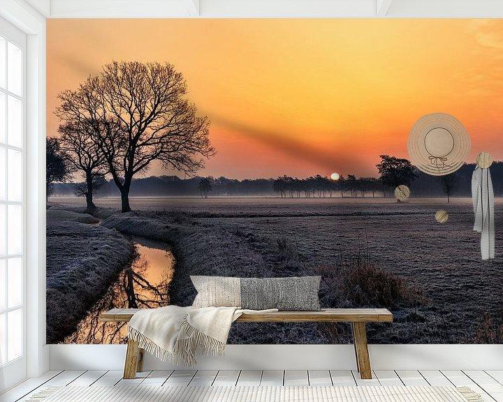 Sfeerimpressie behang: Zonsopkomst van Anneke Hooijer