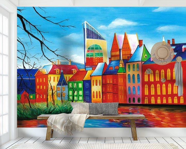 Sfeerimpressie behang: Den Haag schilderij - Binnenhof van Kunst Company