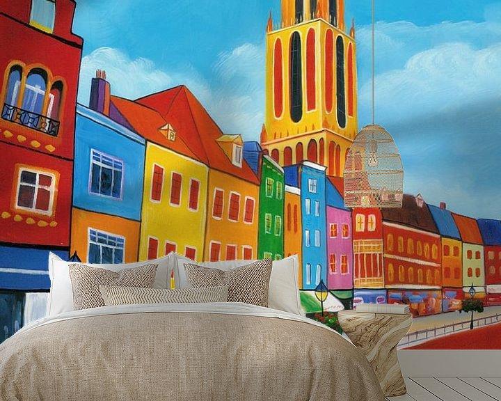 Sfeerimpressie behang: Schilderij Utrecht met de Dom van Kunst Company