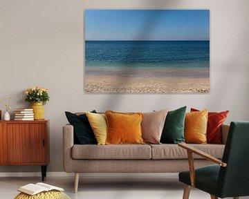 Abstracte foto van een blauwe zee en strand in Istanbul, Turkije.
