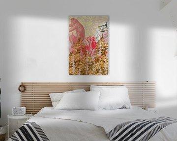Affe hinter goldenen Blumen von Jadzia Klimkiewicz