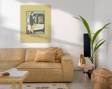 Le temps perdu senfgelb | Frau liest Buch | Historischer Art Deco Mode Druck von NOONY