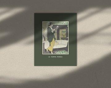 La temps perdu groen | Historische Art Deco Mode prent van NOONY
