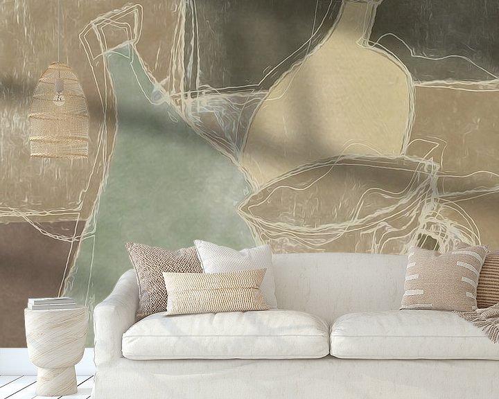 Sfeerimpressie behang: Stilleven in bruintinten en wat groens van Joost Hogervorst