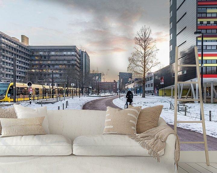Sfeerimpressie behang: Zonsopkomst op een besneeuwd Utrecht Science Park van De Utrechtse Internet Courant (DUIC)