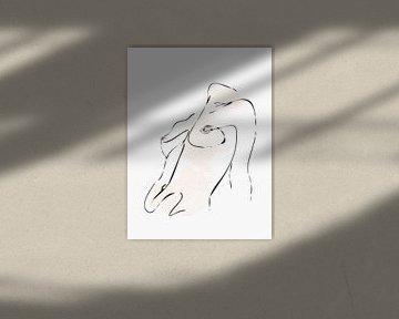 Strichzeichnung Brüste einer nackten Frau mit Aquarell von Art By Dominic