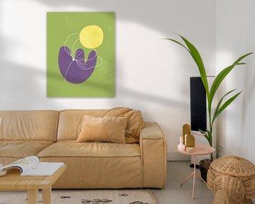 Minimalistisch design in lentekleuren, minimale lijnen en vormen bloem, abstracte tuin kunst van Tanja Udelhofen