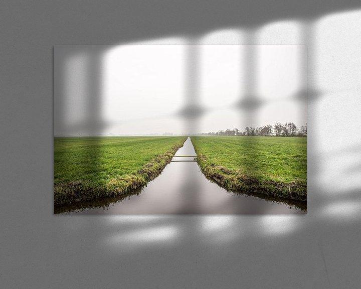 Sfeerimpressie: Hollands weiland met slootje in de mist, fotoprint van Manja Herrebrugh - Outdoor by Manja