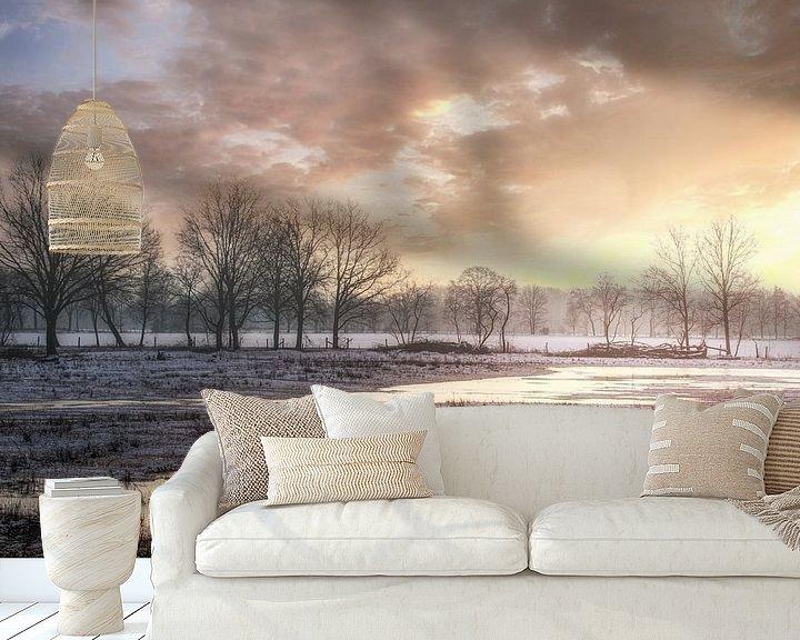 Sfeerimpressie behang: Wintermorgen in Kempen-Broek natuurgebied van Peschen Photography