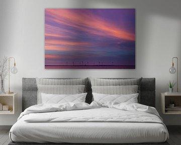 Gekleurde avondwolken boven de Oosterschelde van Emajeur Fotografie