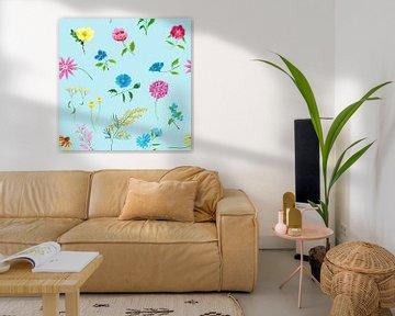 Vrolijk naadloos bloemenpatroon van Ivonne Wierink