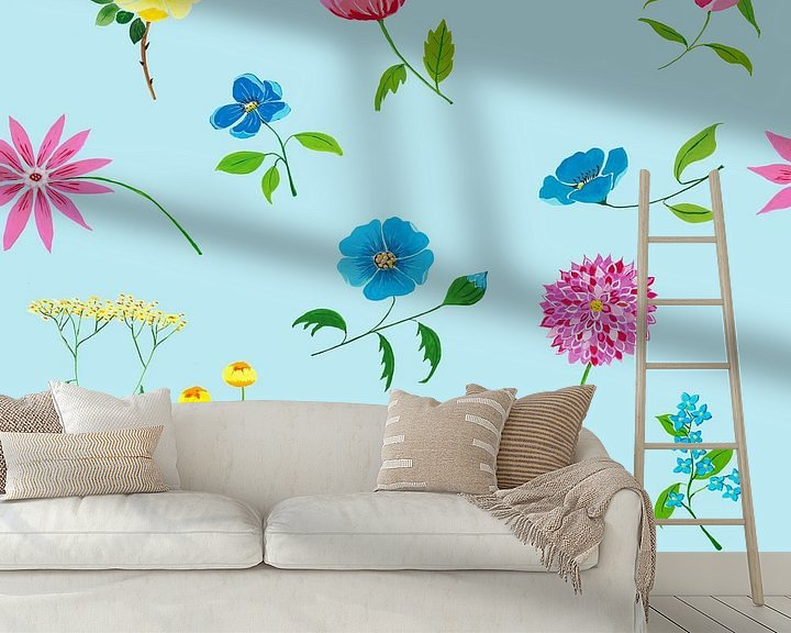 Sfeerimpressie behang: Vrolijk naadloos bloemenpatroon van Ivonne Wierink