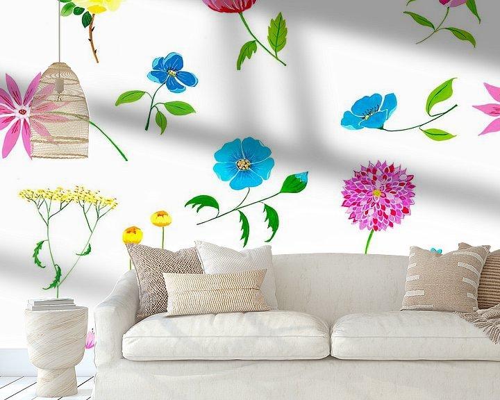 Sfeerimpressie behang: Fleurig naadloos bloemenpatroon van Ivonne Wierink