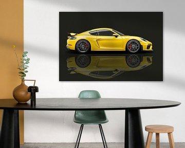 Porsche 718 Cayman GT4 mit Spiegelbild von Gert Hilbink