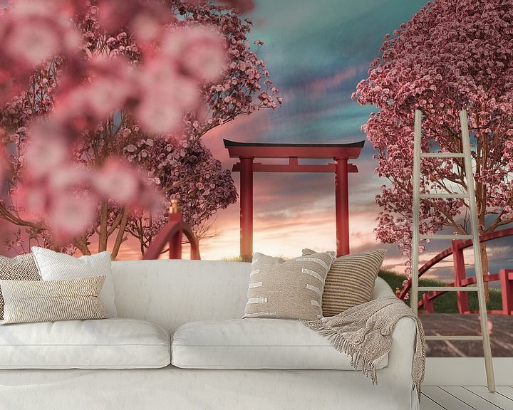 Sfeerimpressie behang: Japanse schrijn omringd door kersenbloesembomen in de zonsondergang van Besa Art