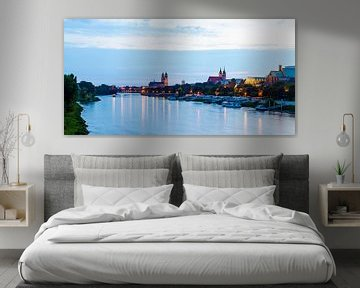 Skyline Magdeburg in de avond van Werner Dieterich