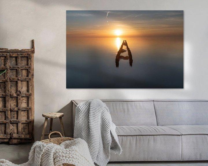 Sfeerimpressie: Zonsondergang langs het IJsselmeer van Dirk Sander