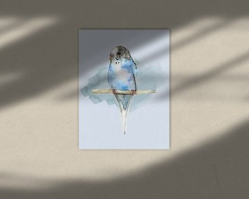 Blaugepunkteter Wellensittich Aquarell von Bianca Wisseloo