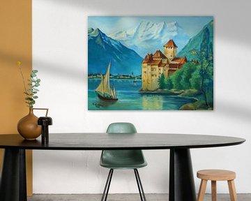 Kasteel van Chillon aan het meer van Genève van Marita Zacharias