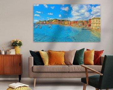 Italien Sestri Levante Baia del Silenzio Panorama von Schildersatelier van der Ven
