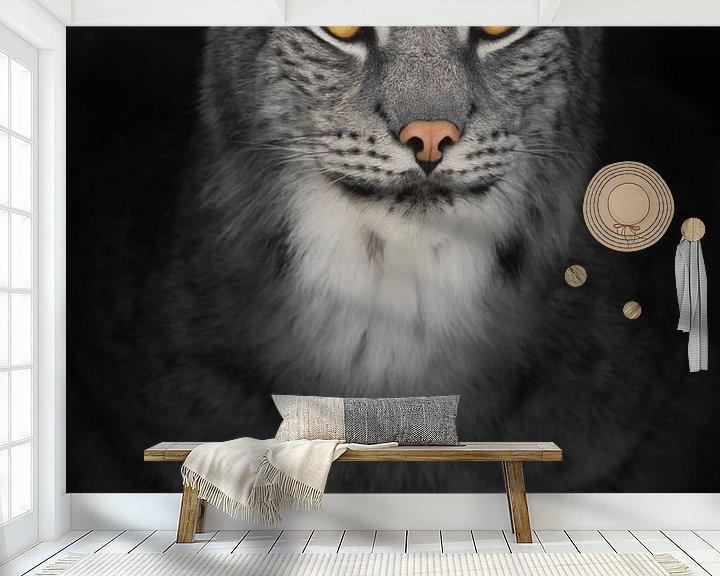 Sfeerimpressie behang: Lynx kat in het donker met oranje gloeiende ogen, verkleurde foto op zwarte achtergrond van Michael Semenov