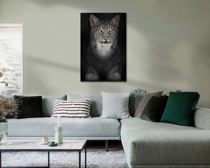 Sfeerimpressie: Lynx kat in het donker met oranje gloeiende ogen, verkleurde foto op zwarte achtergrond van Michael Semenov
