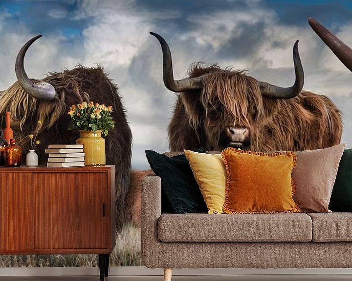 Sfeerimpressie behang: Panorama van Schotse Hooglanders van Bert Hooijer
