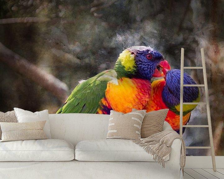 Sfeerimpressie behang: Twee papegaaien van Peter Mensink