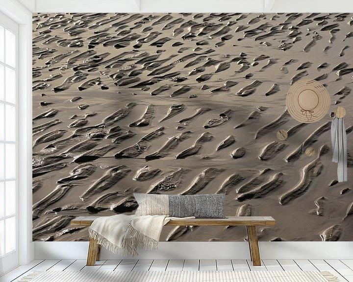Sfeerimpressie behang: Rimpelingen in nat zand van Kristof Lauwers