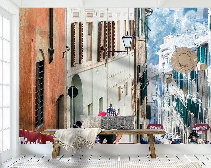 Sfeerimpressie behang: Mathieu van der Poel wint in Siena van Leon van Bon