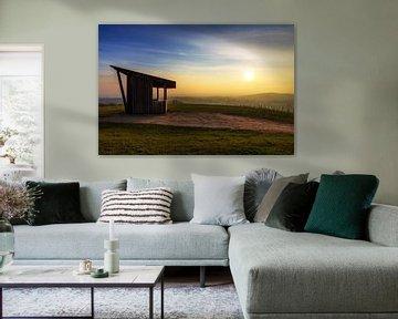 Hütte im Sonnenuntergang