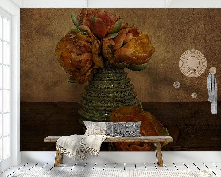 Sfeerimpressie behang: Pioentulpen van Elly van Veen