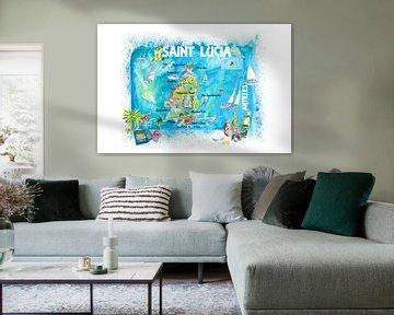 St. Lucia Antillen Illustrierte Karibik Reisekarte mit Highlights der Westindischen Inseln Traum von Markus Bleichner