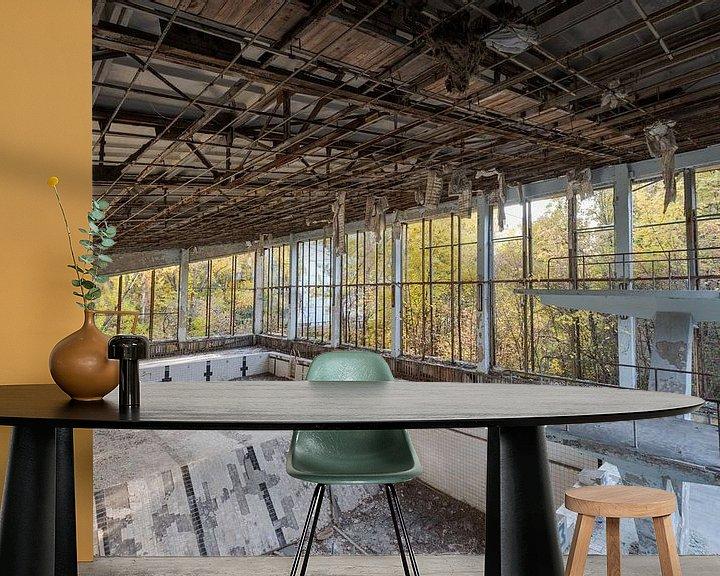 Beispiel fototapete: Springerbecken in Schwimmbad der Geisterstadt Prypjat bei Tschernobyl von Robert Ruidl