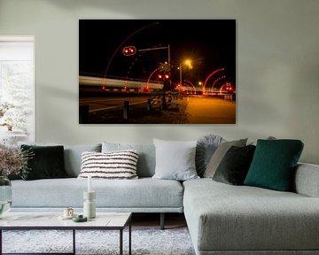 lichtshow spoorwegovergang van FotoBob